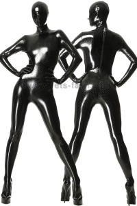 Catsuit Stretchlack Hole Style Black