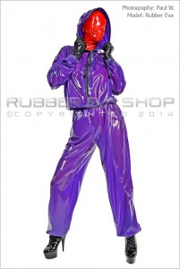 Hooded Rubber Jogging Suit With Hood Flap