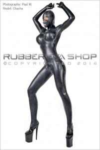 Total Enclosure Underwired Rubber Catsuit 立体的なバスト構造とアンダーワイヤーが入ったラバーキャットスーツ(ラバースーツ)の例