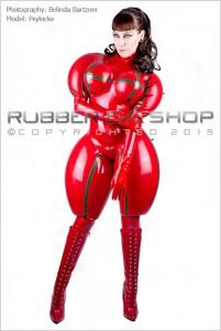 rubbereva Inflated Rubber Doll Catsuit インフレータブルバストと他の箇所もインフレータブル化してより強調するスタイルとしたキャットスーツの例
