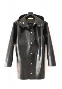Heavy rubber jacket with hood front