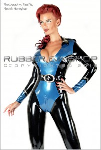 Officer Uniform Latex Catsuit