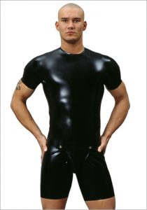 26029 Latex cycle suit with codpiece, shoulder zips, 0,60 mm