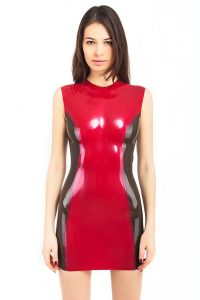 Latex midi dress with transparent sides