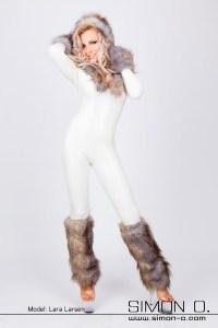 Fur Trim Latex Catsuit 2
