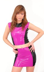 4) No Sleeve Latex Top & Latex Skirt Set (Pink/Black, XSサイズ)