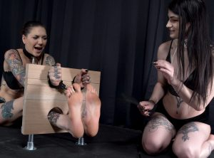 Bare Feet Trapped, Smacked, Tickled and Teased in Wooden Stocks