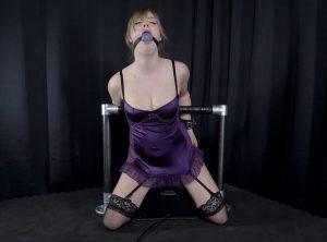 Bondage Orgasms for Ball-gagged Blonde on a Sybian