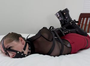 Rachel Adams' Inescapable Leather Belt Hogtie Struggle