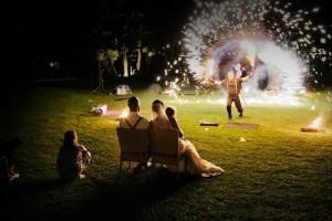 Feuershow für Hochzeit brennendes herz