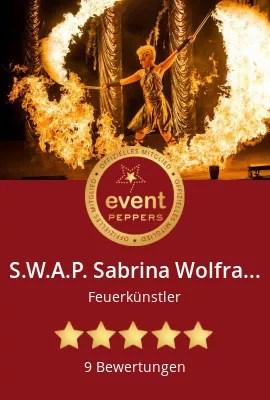 S.W.A.P. Sabrina Wolfram ART PROJECT bei Eventpeppers-Feuershow-Lichtshow-Pyrotechnik-Livemusik-Tanz für Firmenevent, Firmenfeier mit Logoinszenierung und Hochzeit. Buchung und Info unter www.feuershow-swap.de und 06221/7251924