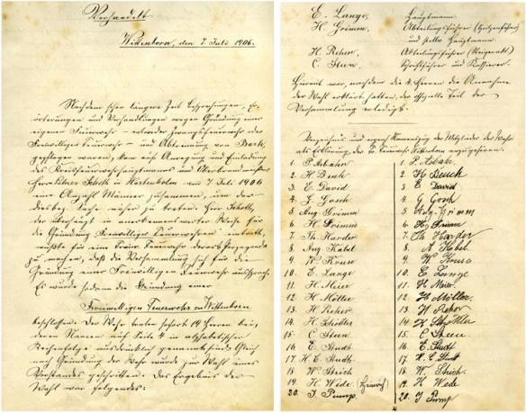 Gründungsurkunde vom 7. Juli 1906