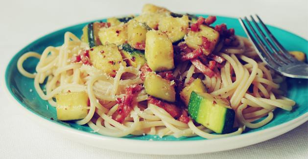 Spaghettis au jambon et courgettes - Feuille de choux