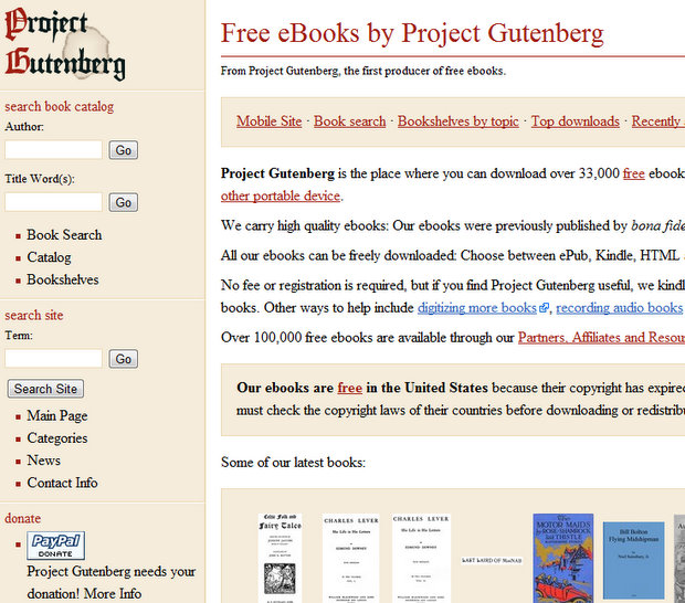Project Gutenberg - free ebooks online download for iPad, Kindle, Nook, Android, iPhone, iPod Touch, Sony Reader