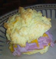 The ham & cheese biscuit sandwich!