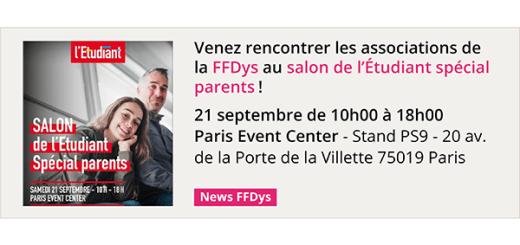 Venez rencontrer les associations de la FFDys le 21 septembre au salon de l'Étudiant spécial parents!