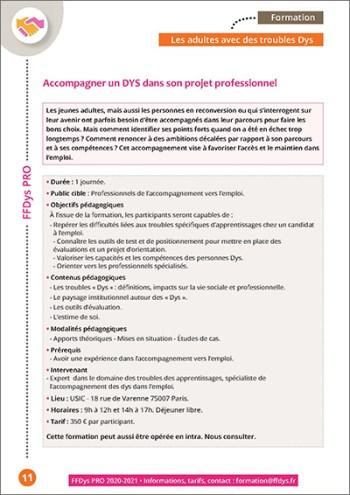 Formation FFDys Pro - Accompagner un DYS dans son projet professionnel