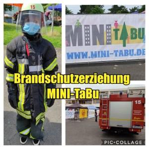 Collage Brandschutzerziehung der Löscheinheit Rheindorf in Tannbusch bei Mini-TABU am 12.8.2021