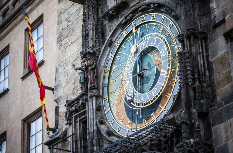 Medieval astro-clock on tower in Prague.
