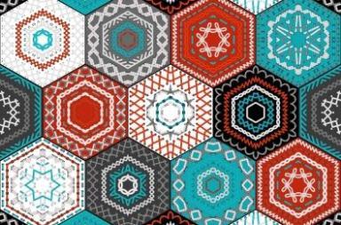 Patchwork hexagons in black n white, teal n tan.