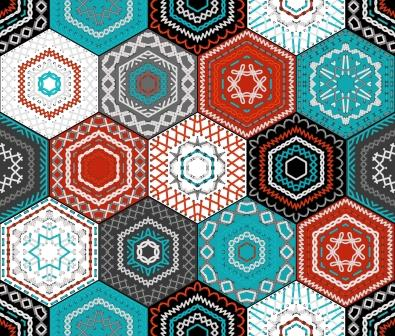 Patchwork hexagons in black n white, teal n tan.