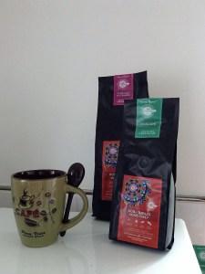 Costa Rican olive glazed coffee mug and packs of coffee