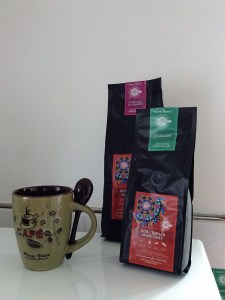 Costa Rican olive glazed coffee mug and packs of coffee