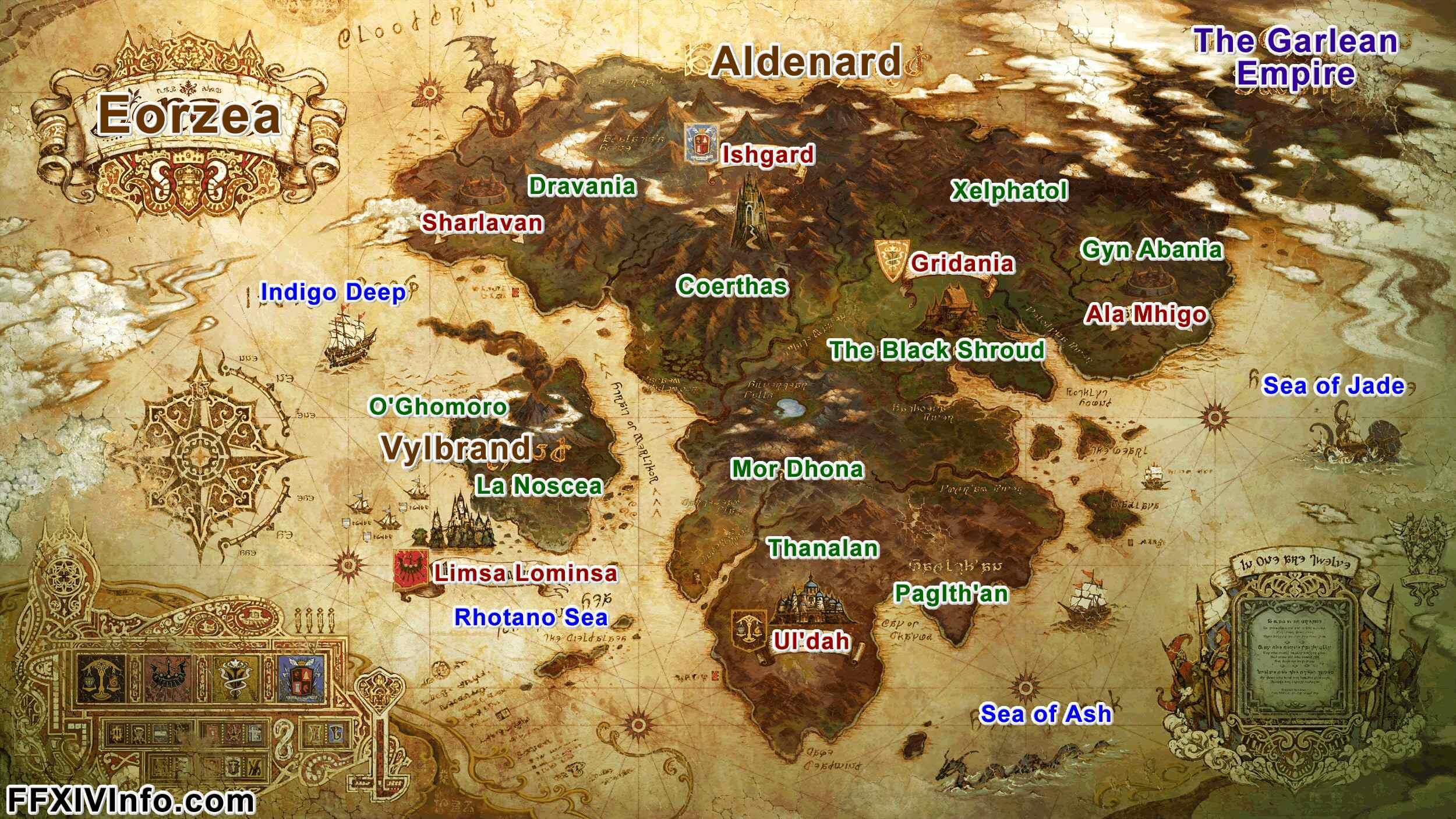 Eorzea Continent Maps FFXIV A Realm Reborn Info FF14