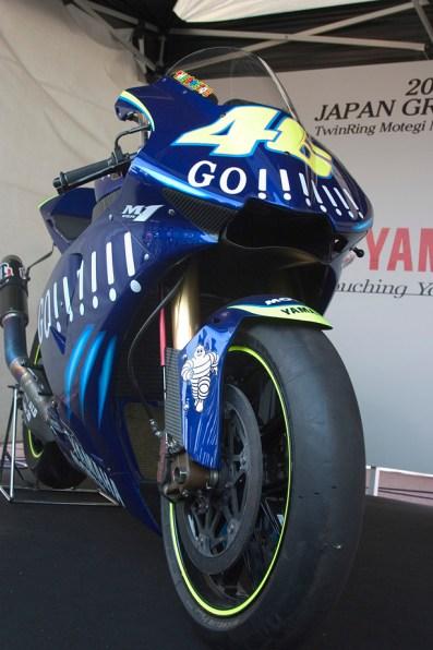 La moto de Valentino Rossi, certainement champion du monde une nouvelle fois cette annee. Un passage reussi de Honda vers Yamaha.
