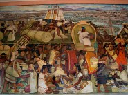 Une grande partie des couloirs de la cour du palais National sous couvertes de fresques de Rivera ...
