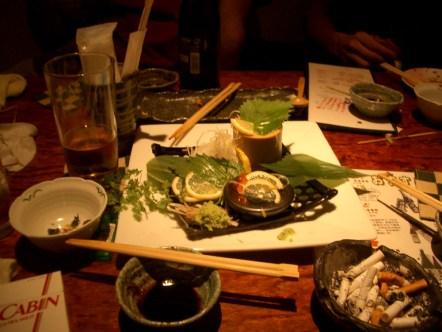 Les restes de notre festin dans une izakaya a Oosaka.