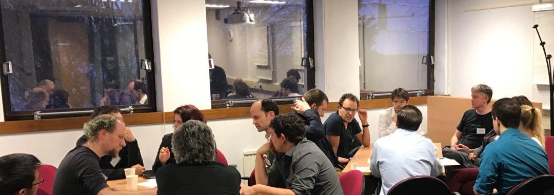 Crowd in conversation during workshop