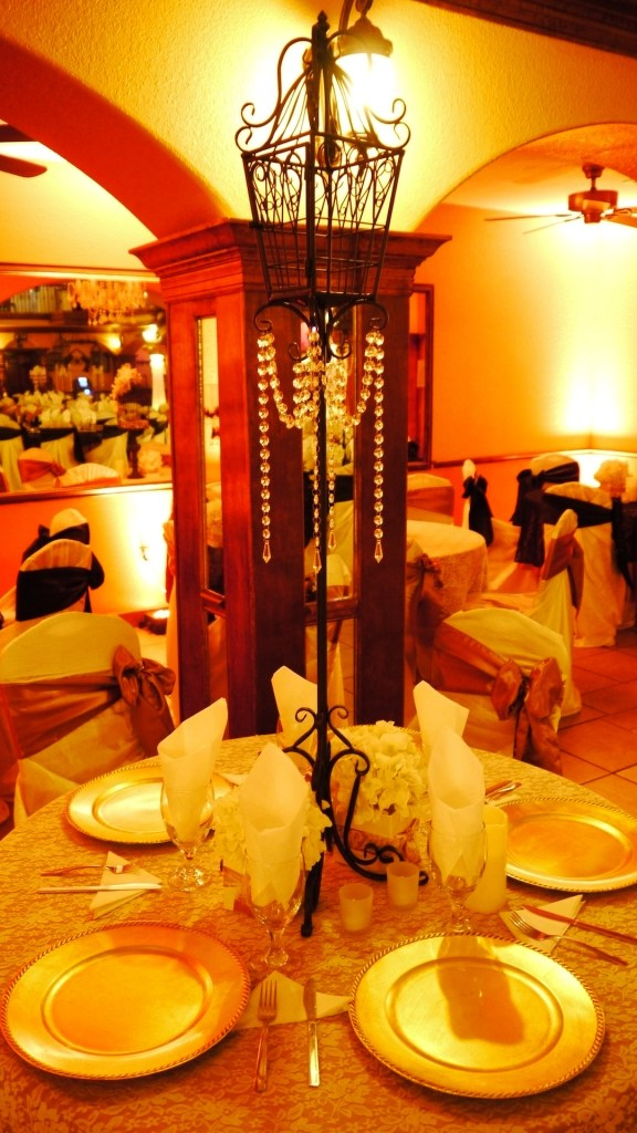 Herreras Reception Hall Amber LED Uplights Table Setting Center Piece Close Up