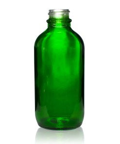 4 oz Boston Round Green Glass Bottle with 22-400 Neck Finish