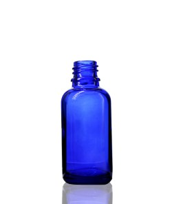 30 ml Cobalt Blue Euro Round Glass Bottle with 18-DIN Neck Finish