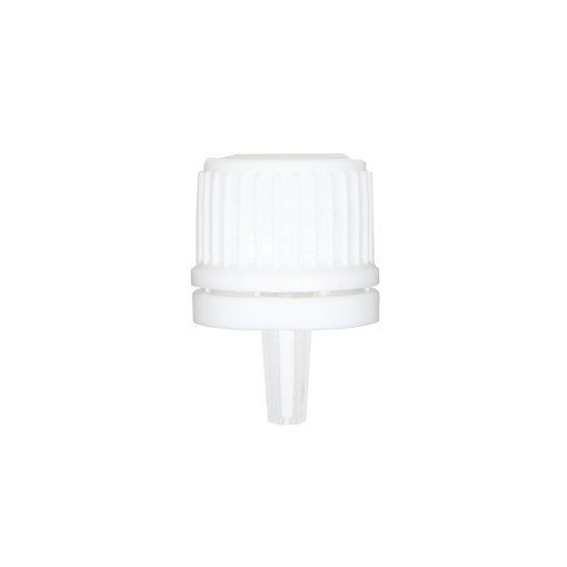 White 18-400 Euro PP Tamper Evident Ribbed Cap Orifice Dropper Assembly