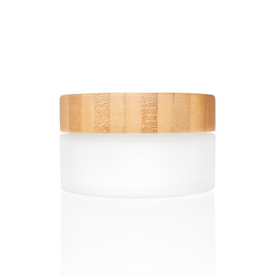 100g Frosted Glass Cream Jar with Bamboo Lid