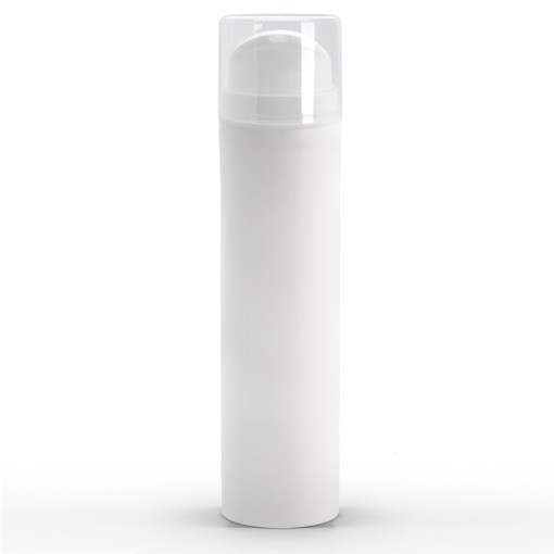 150 ml White Polypropylene Airless Pump Bottle with White Snap Cap and Clear Overcap