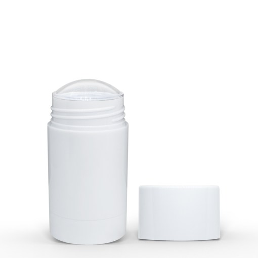 50g White Twist Up Deodorant Tube with White Screw Cap and Disc