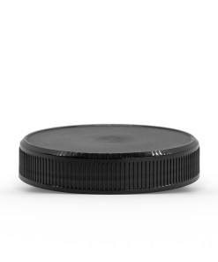 Black 58-400 PP Ribbed Skirt Lid with Foam Liner