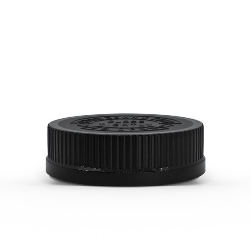 """54-400 Black Push Down and Turn"""" Child-Resistant Ribbed Skirt Lid with Foam liner"""