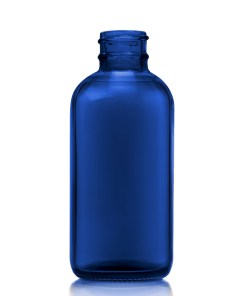 4 oz Boston Round Blue Bottle with 24-400 Neck