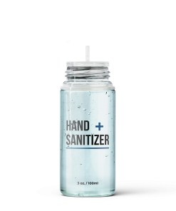 100 ml PET Hand Sanitizer Bottle with Clear Flat Cap and Pre-Inserted Tip