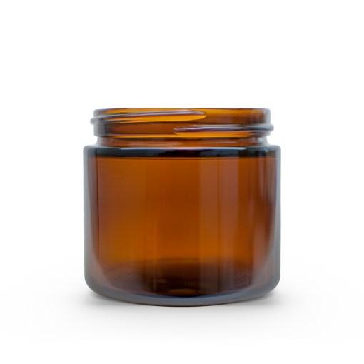 2 oz 53-400 Amber Glass Straight-Sided Round Jar