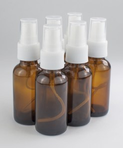 (Pack of 6) 1 oz Amber Boston Round Glass Bottle with sprayer with White Sprayer
