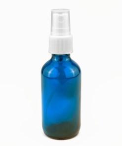 2 oz Blue Boston Round Glass Bottle with White Sprayer Set