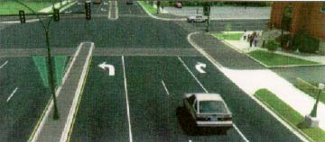 computer generated example of left and right turn lanes with median
