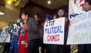 Kevin Kang speaking at Sunday's DREAM Act rally in Brooklyn, NY - Photo: Catalina Jaramillo