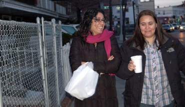 Monica Alcota and Cristina Ojeda walking in Queens