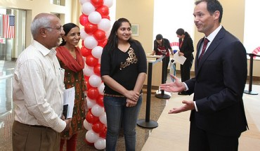 Visa applicants at the US Consulate in India American Center in Mumbai